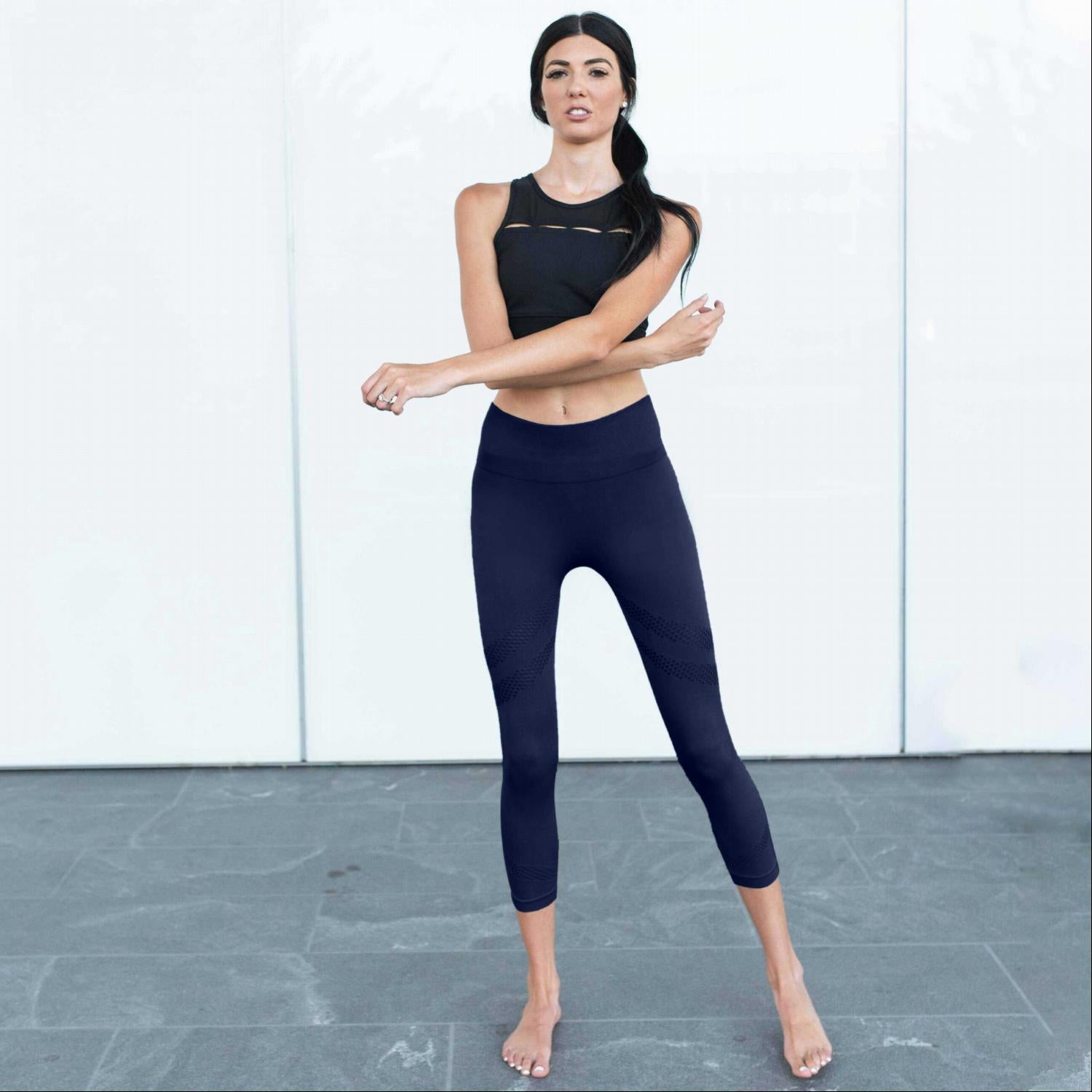 Navy Active Vented Mesh Design Capri Fitness Leggings Musa