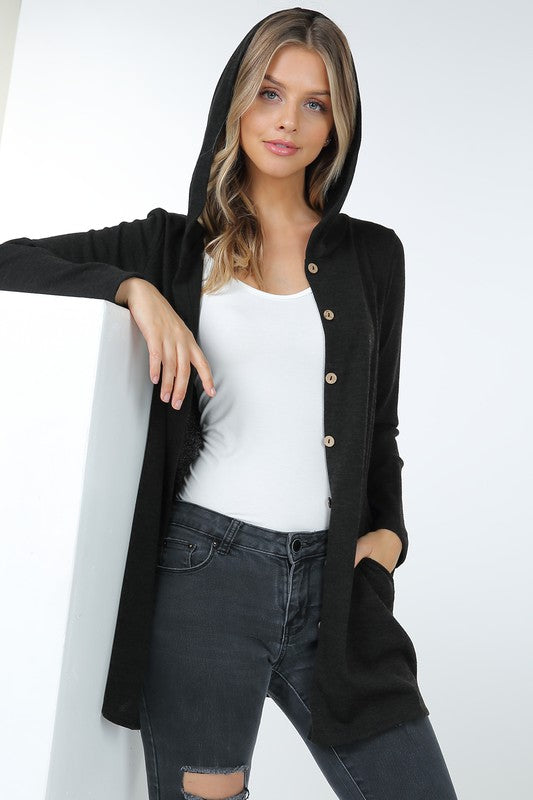 Black Hacci Fabric Button Down Hooded Cardigan