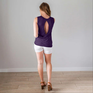 Plum Sleeveless Top w Back Keyhole
