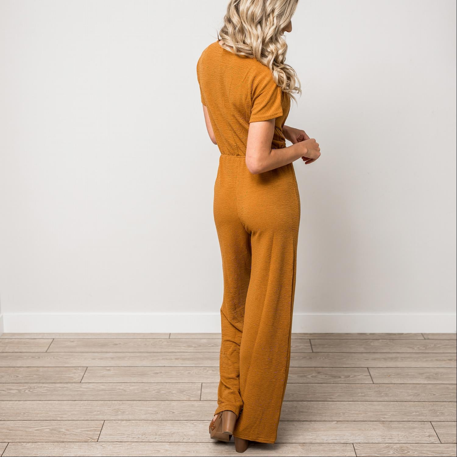 Mustard Textured Solid V-Neck Jumpsuit