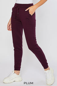 Plum Women's Sweatpants Fleece Jogger Basic Tapered Leg High Rise Solid Winter USA
