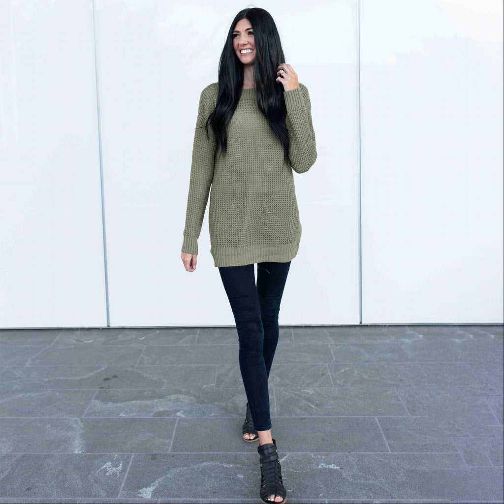 Green Long Sleeve Oversized Pullover Sweater Tunic