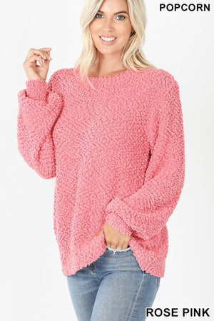 Rose Pink Popcorn Knit Bubble Sleeve Sweater