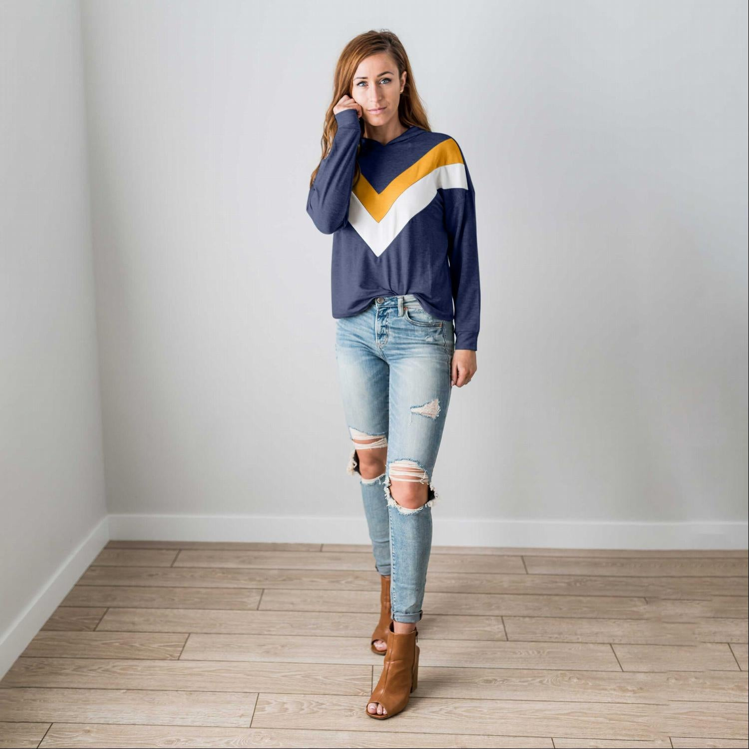 Navy Women's Sweatshirt Hoodie Chevron Long Sleeve Blouse Cute Spring Crop Top S-L