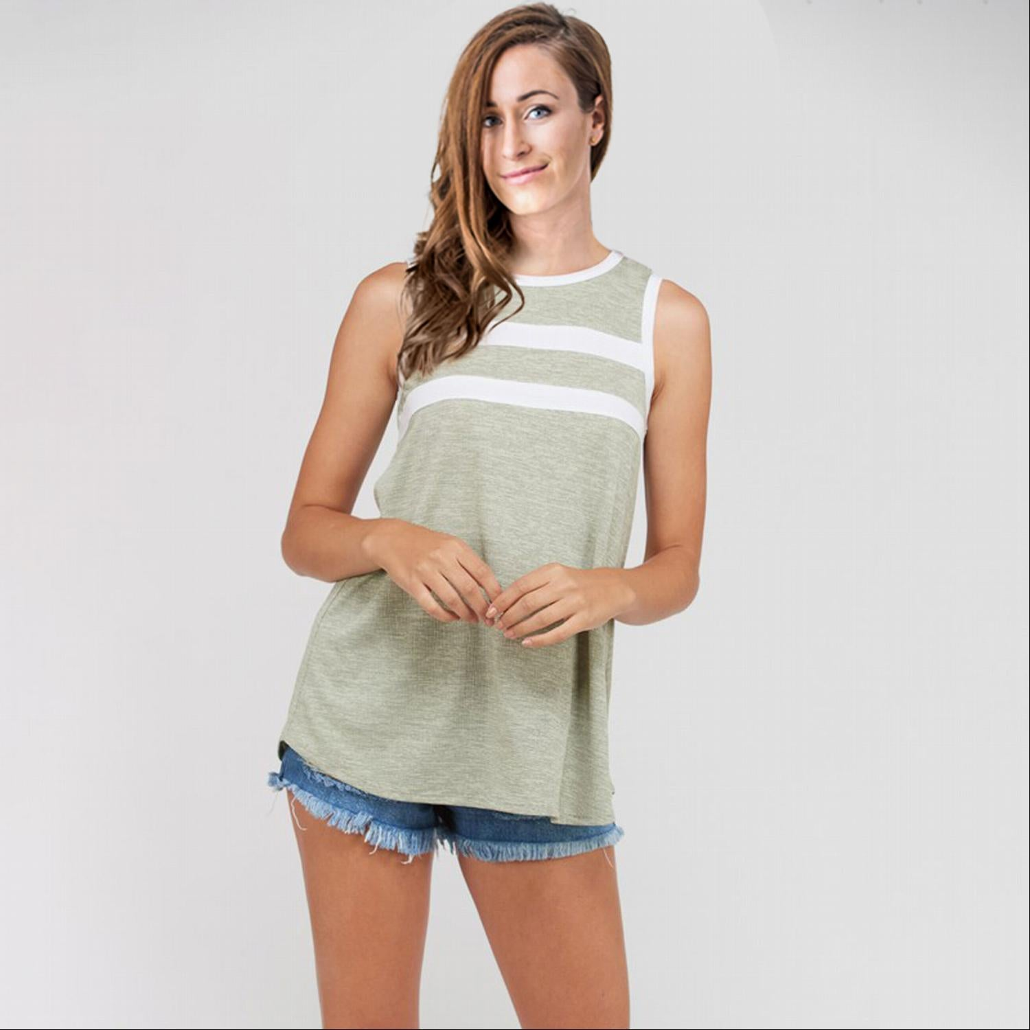 Tan Striped Tank