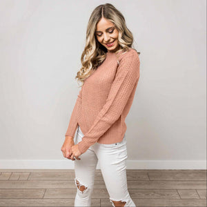 Mauve Solid Lace Up Back Knit Sweater Top