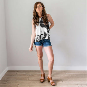 Black Tie Dye Tank with Back Knot