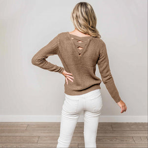 Mocha Solid Lace Up Back Knit Sweater Top