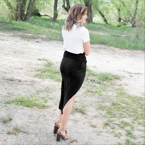 Black Knotted Tulip Skirt