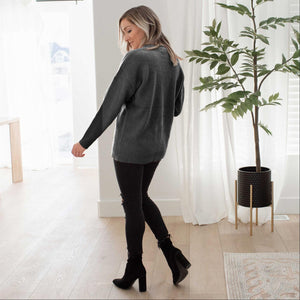 Charcoal Round Neck Basic Sweater