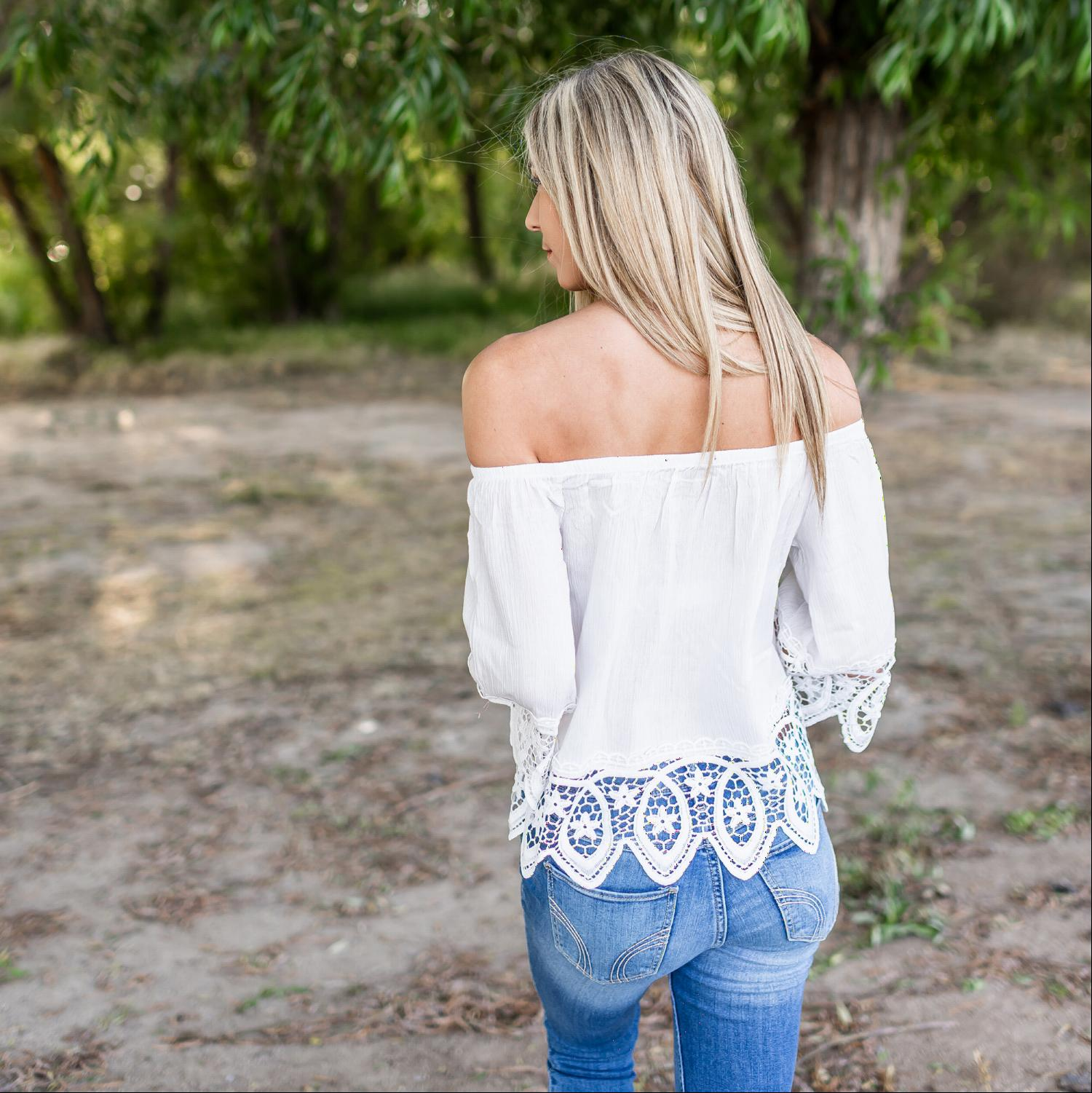 Ivory Lace Trimmed Off Shoulder Lace Top