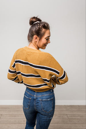 Mustard Stripe Dolman Sleeve Boxy Sweater Knit Top