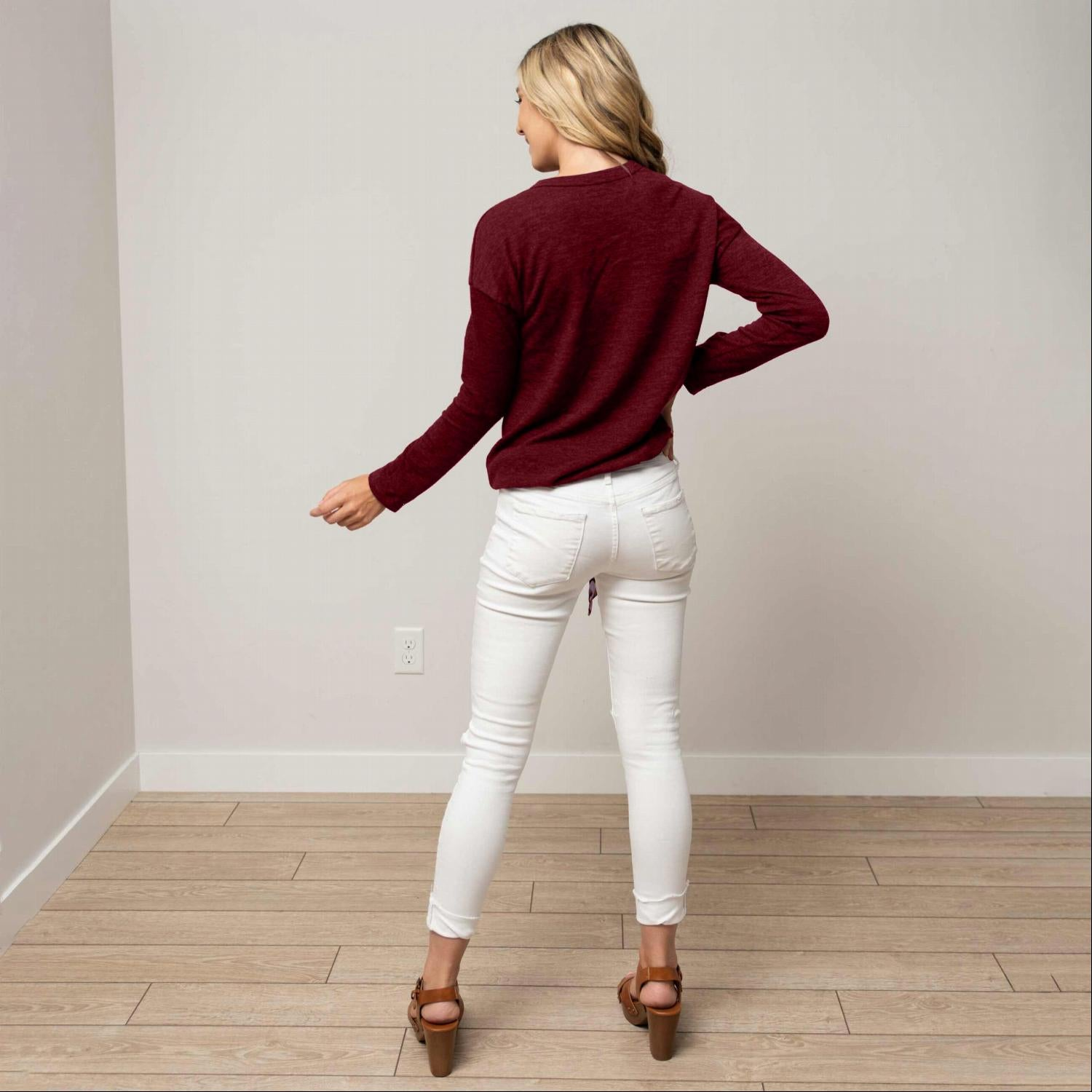 Burgundy Hacci Long Sleeve Tunic With Front Tie