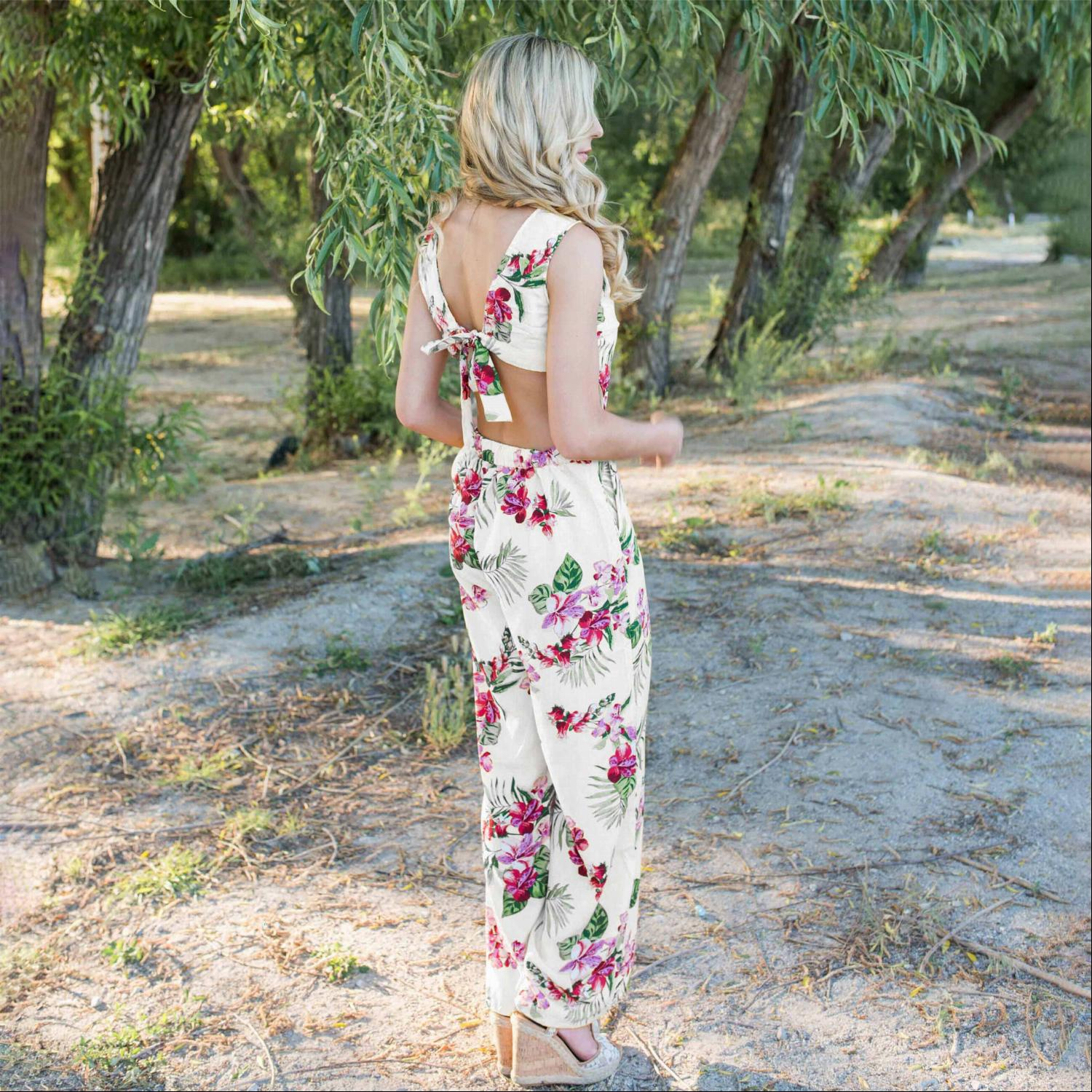 White Tropical Tie Back Jumpsuit