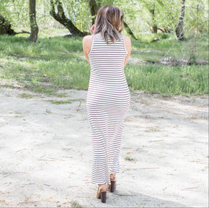 White Round Neck Maxi Dress