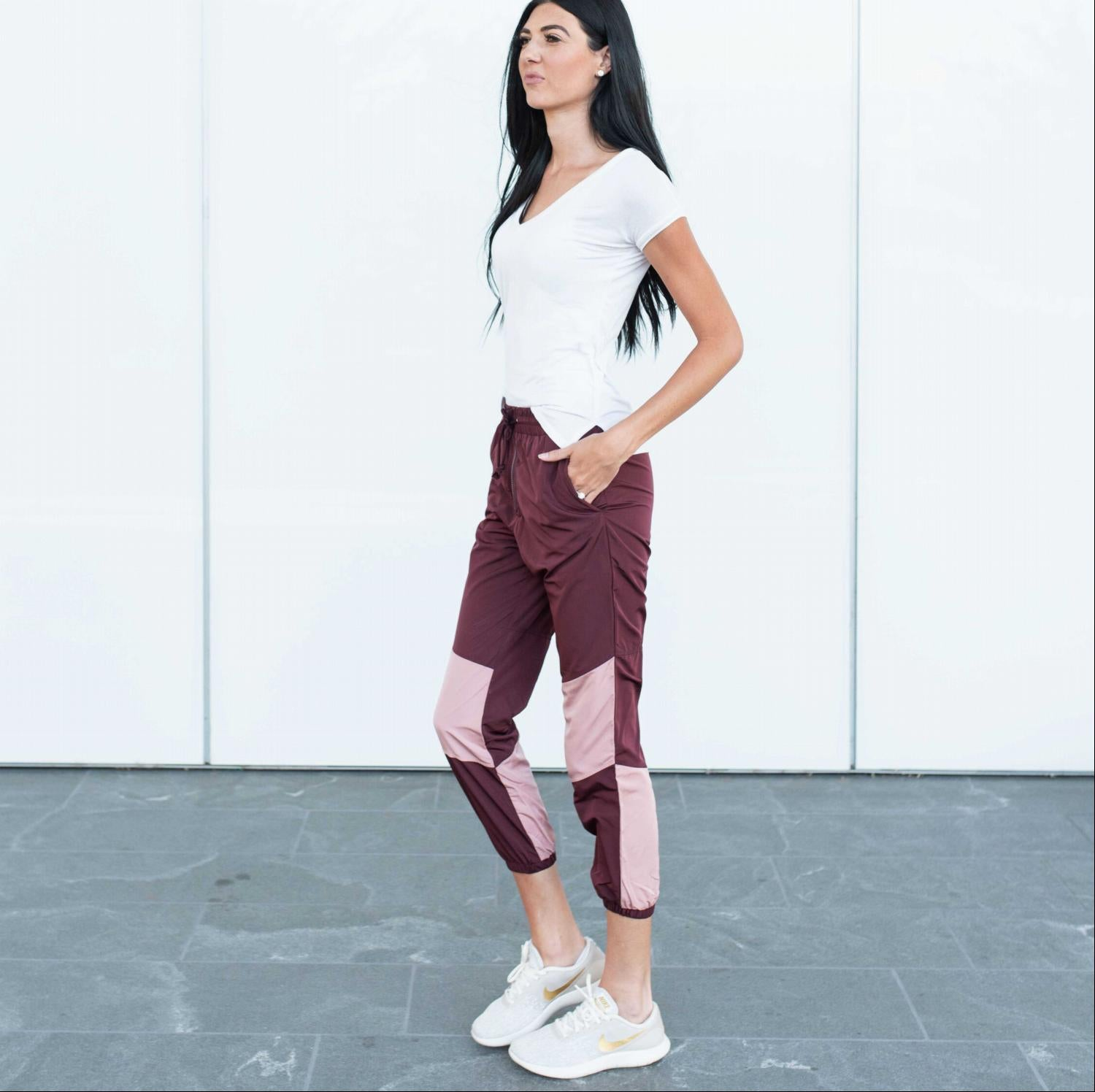 Burgundy Color blocked Water Resistant Active Pants