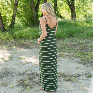 Green Striped Vee Neck Cami Maxi Dress