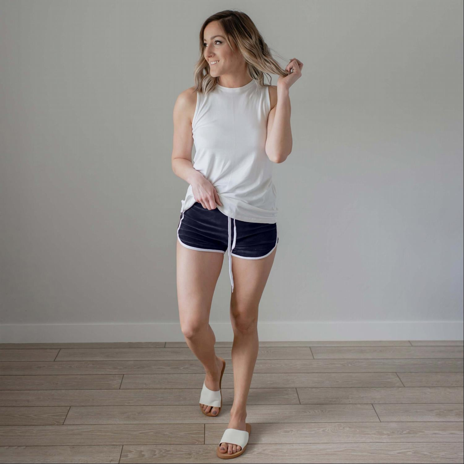 Navy Velour Contrast Binding Shorts