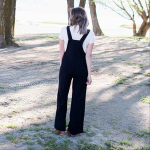 Black Linen Overall Jumpsuit
