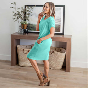 Mint Rolled Short Sleeve Round Neck Dress