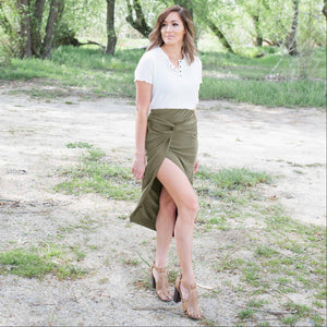 Olive Knotted Tulip Skirt