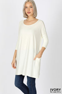 Ivory Women's Boxy Tunic Top 3/4 Sleeve Drop Shoulder Relaxed Fit Crew Neck Summer USA