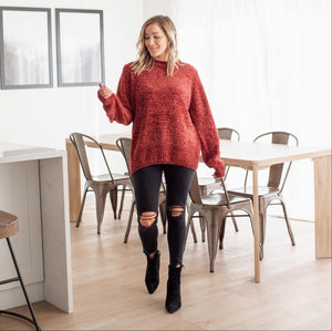 Fired Brick Women's Chunky Chenille Sweater Long Sleeves Ribbed Waist Classic Neck Winter US