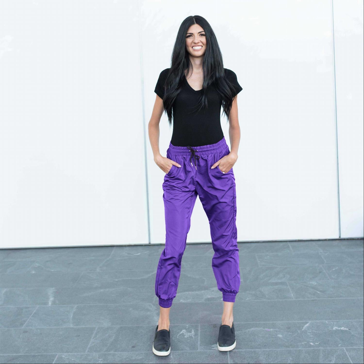 Purple Banded Drawstring Active Jogger Pants