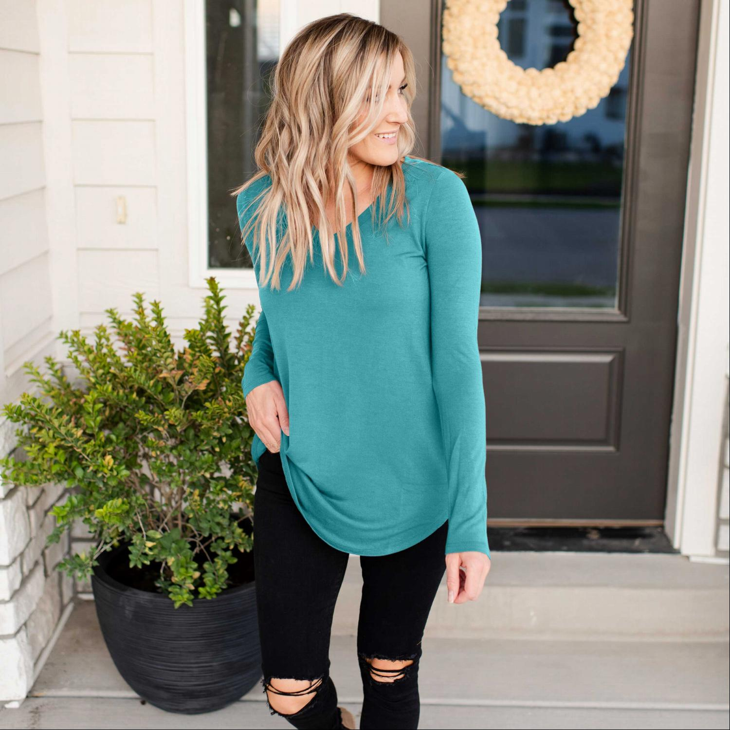 Dusty Teal Long Sleeve V-neck Round Hem Top