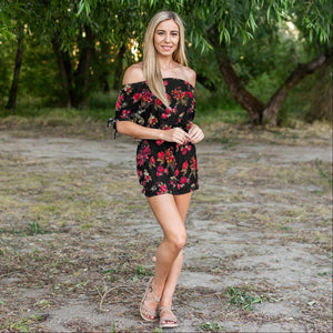 Black Floral Off Shoulder Woven Romper