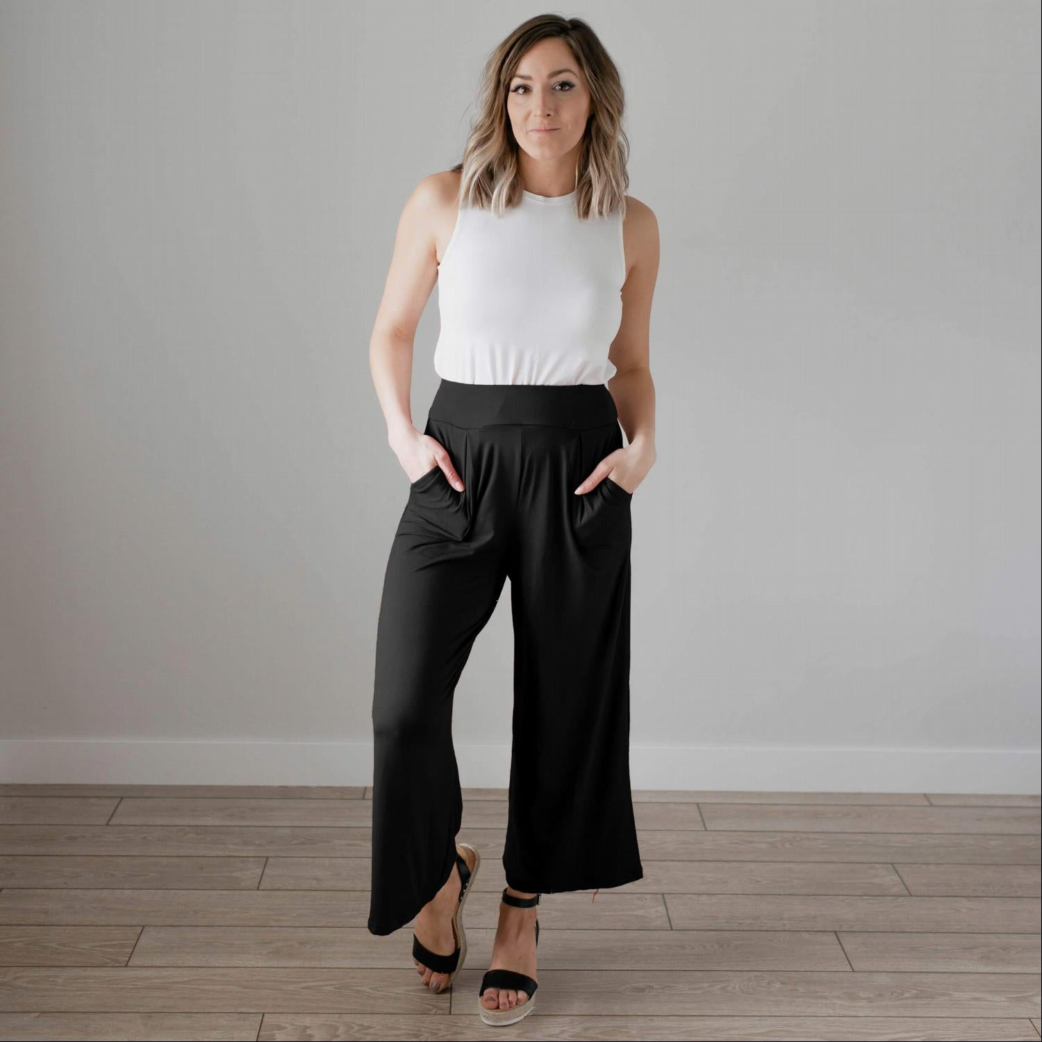 Black Soft Brushed Wide Legged Palazzo Pants