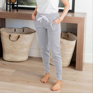 Light Heather Grey Apared Bottom Fleece Pants With Pockets