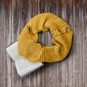 Mustard Women's Infinity Scarf Circle Cowl Neck Button Thick Shawl Wrap Warm Winter