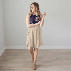 Navy Sleeveless Floral Dress