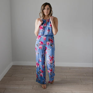 Blue Floral Print High Square Jumpsuit