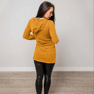 Mustard Hacci Fabric Button Down Hooded Cardigan