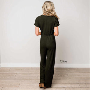 Olive Textured Solid V-Neck Jumpsuit