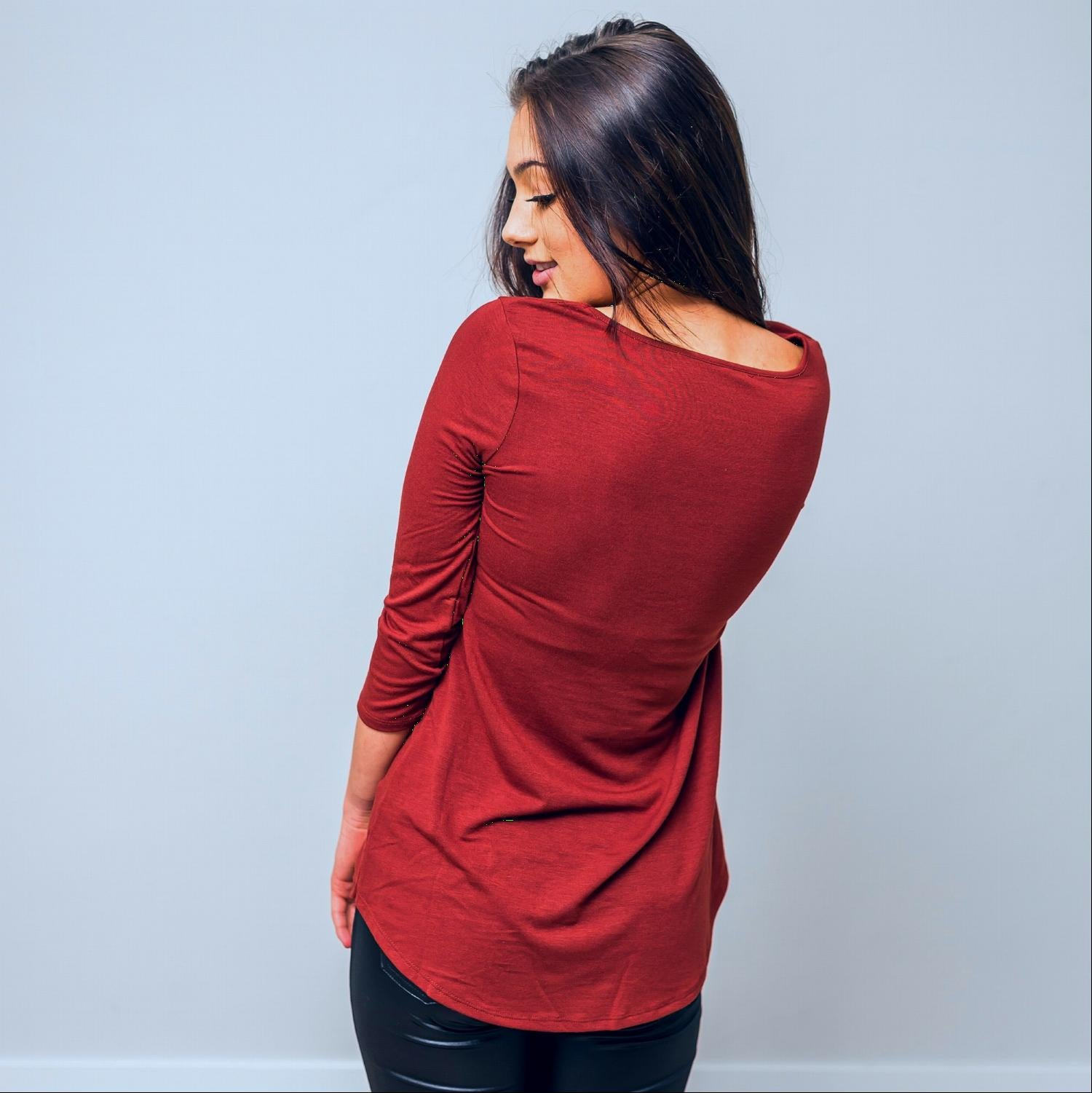 Rust SLEEVE ROUND NECK SIDE RUCHED TOP