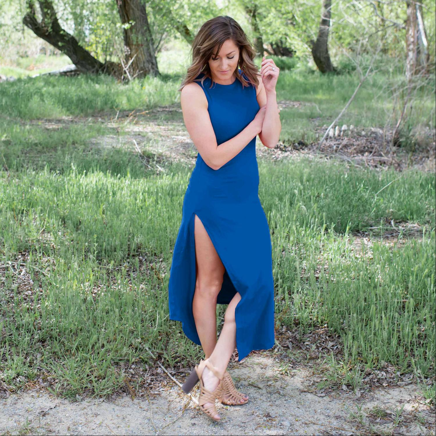 Blue Knit Tank Maxi Dress