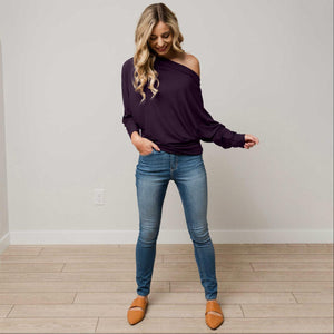 Purple Off Shoulder Dolman Long Sleeve Top