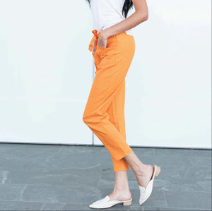 Orange LONG PAPER BAG PANTS