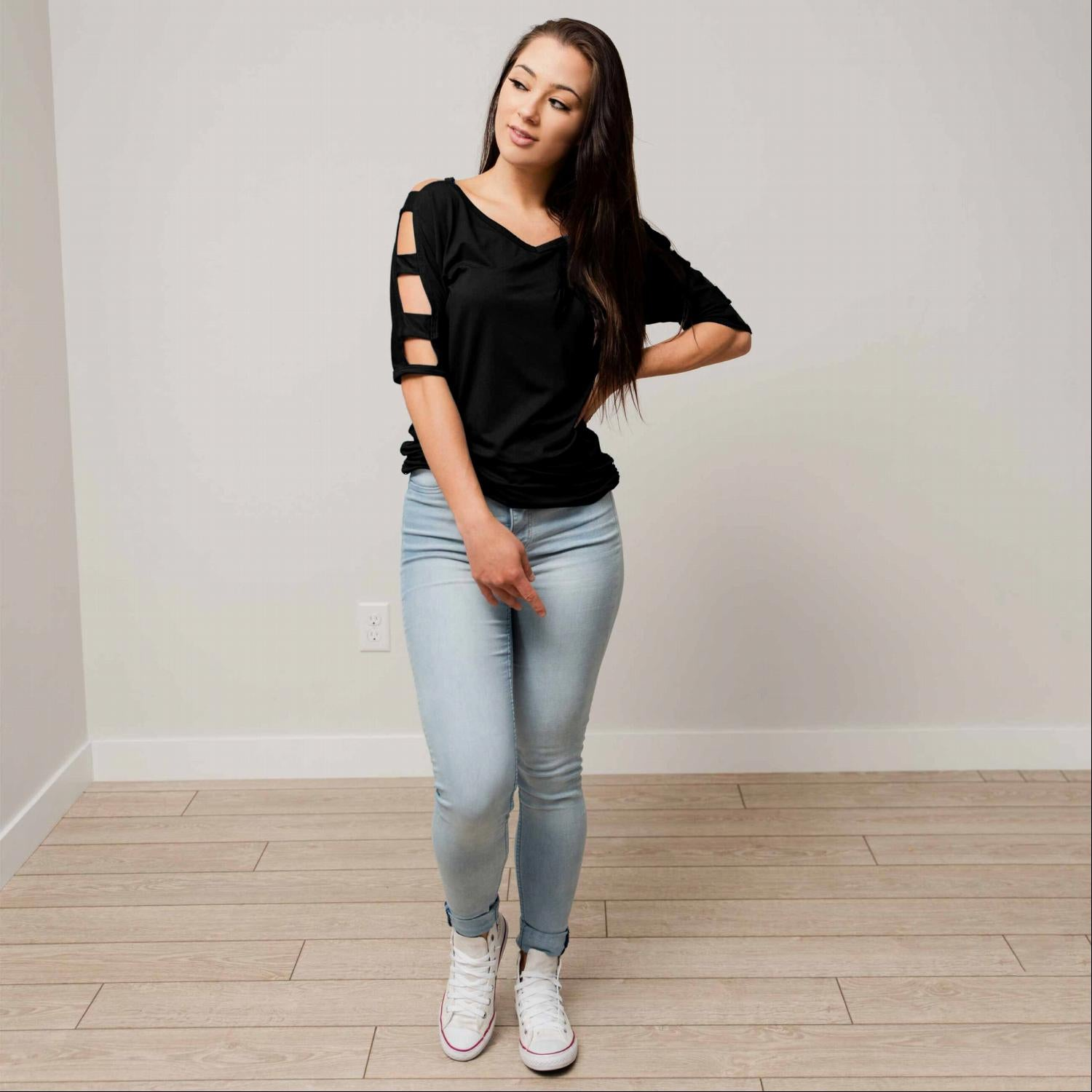 Black V Neck Short Sleeve Top with Arm Cutouts