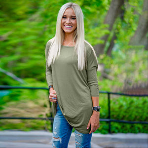 Light Olive Women's Boxy Tunic Top 3/4 Sleeve Drop Shoulder Relaxed Fit Crew Neck Summer USA