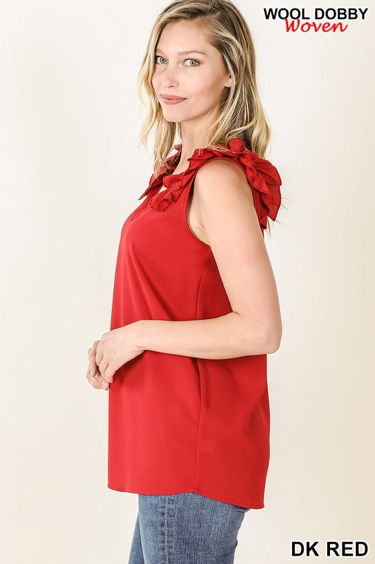 Dark Red Woven Wool Dobby Ruffle Trim Sleeveless Top