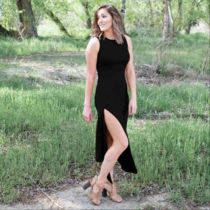 Black Knit Tank Maxi Dress