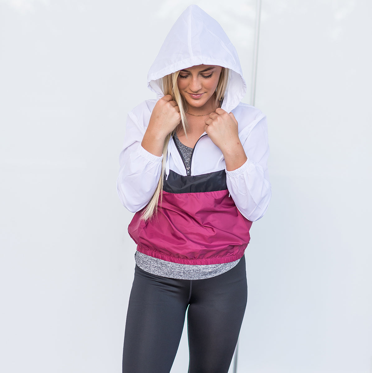 Wine Active Hooded Colorblock Jacket