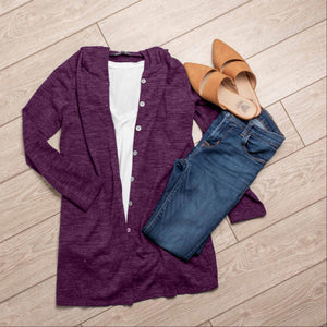 Purple Hacci Fabric Button Down Hooded Cardigan