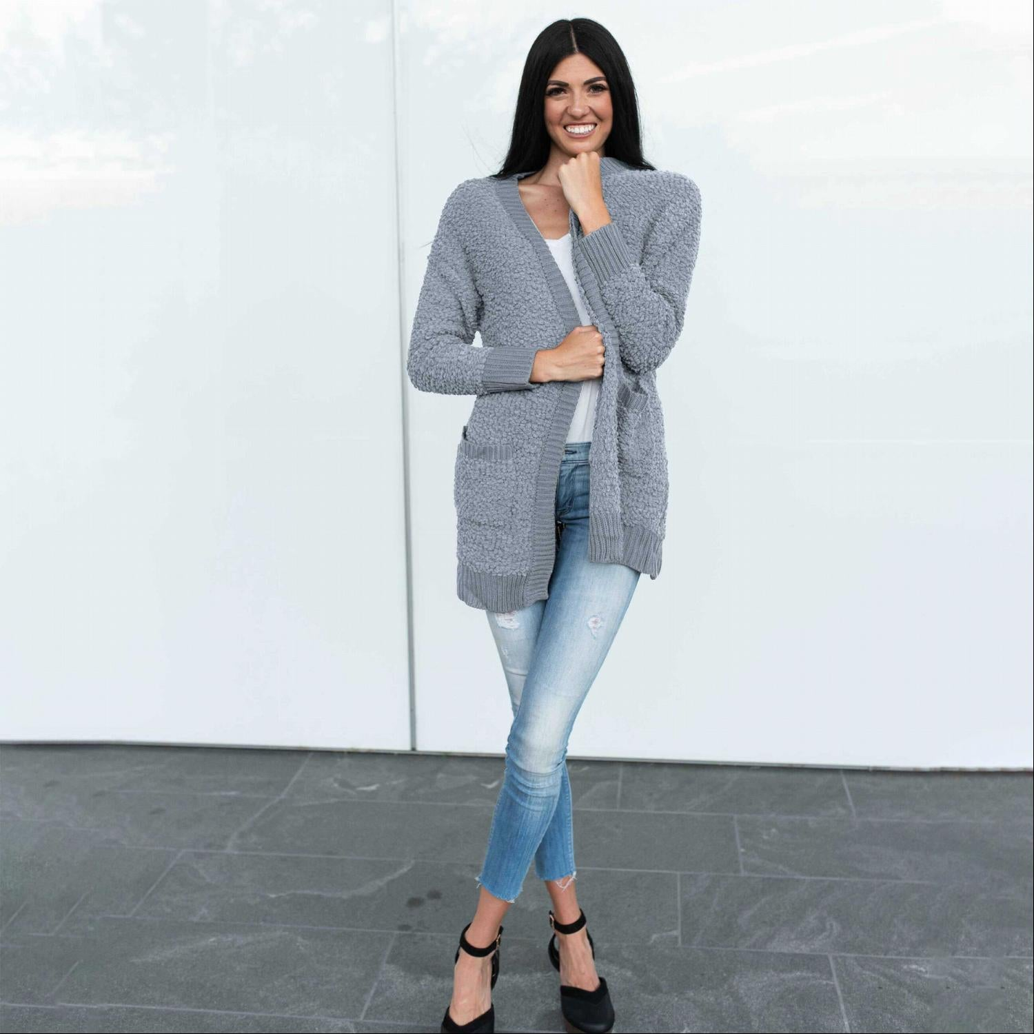 Slate Blue Zenana LONG SLEEVE POPCORN CARDIGAN WITH POCKETS