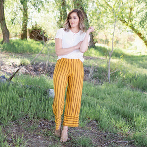 Mustard Vertical Striped Cropped Pants