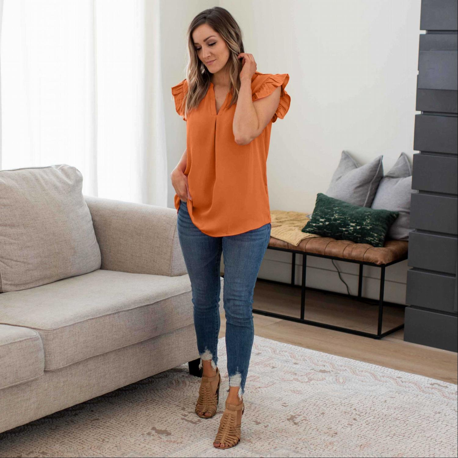 Almond Woven Wool Peach Ruffled Sleeve High-low Top